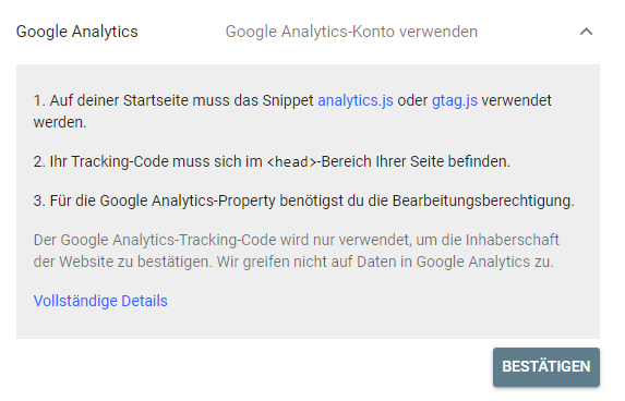 google-console-authentifizierung-google-analytics