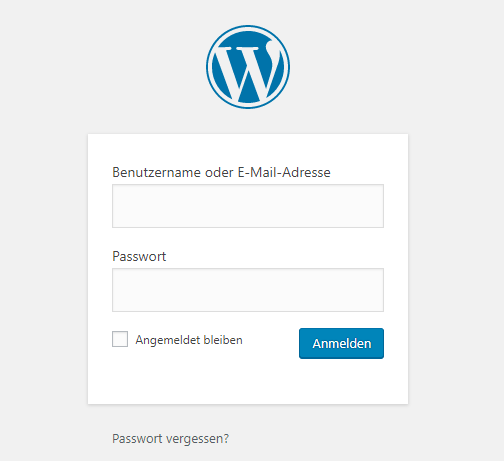wordpress webseite login