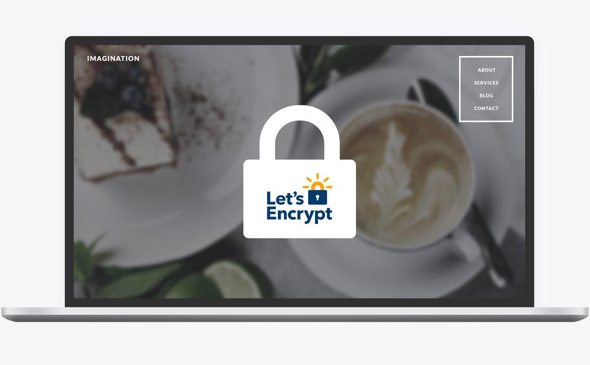 Webseite mit einem Schloss-Symbol, welches für kostenlose SSL-Zertifikate steht.