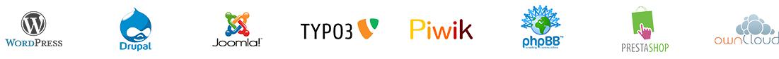 Verschiedene CMS-Logos