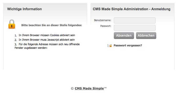 CMS Made Simple: Backend-Login