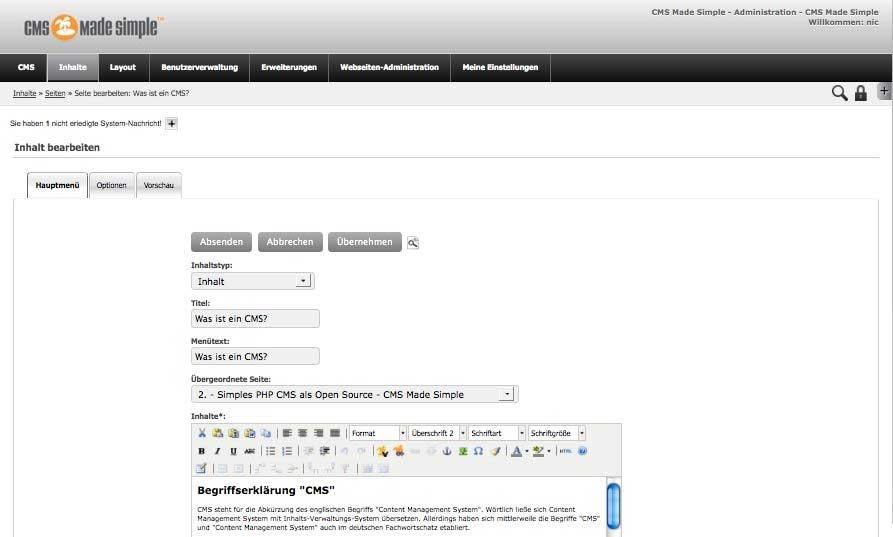 CMS Made Simple: Eingabeformular für Seiten