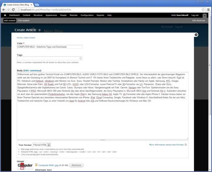 Drupal: Formular für Artikelbearbeitung