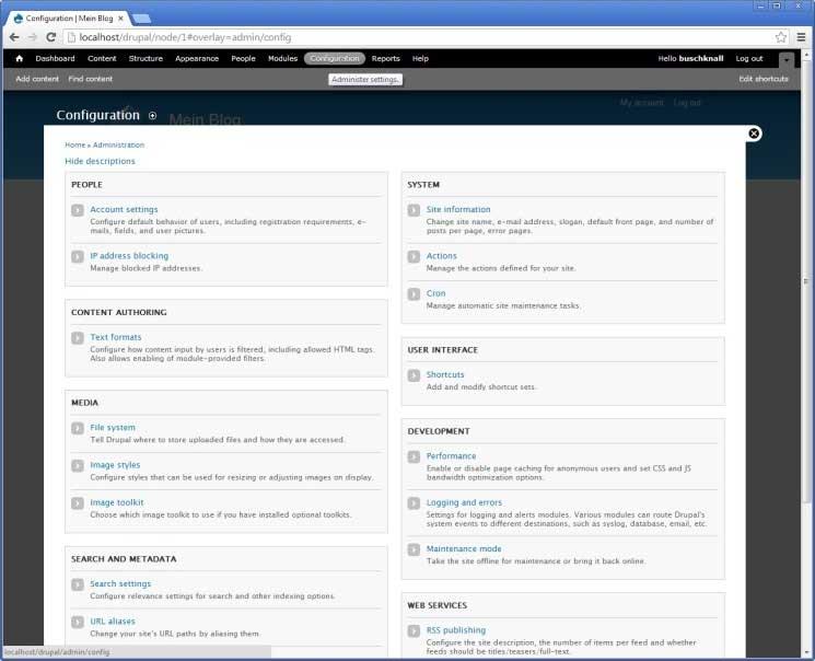 Drupal: Konfigurationsseite
