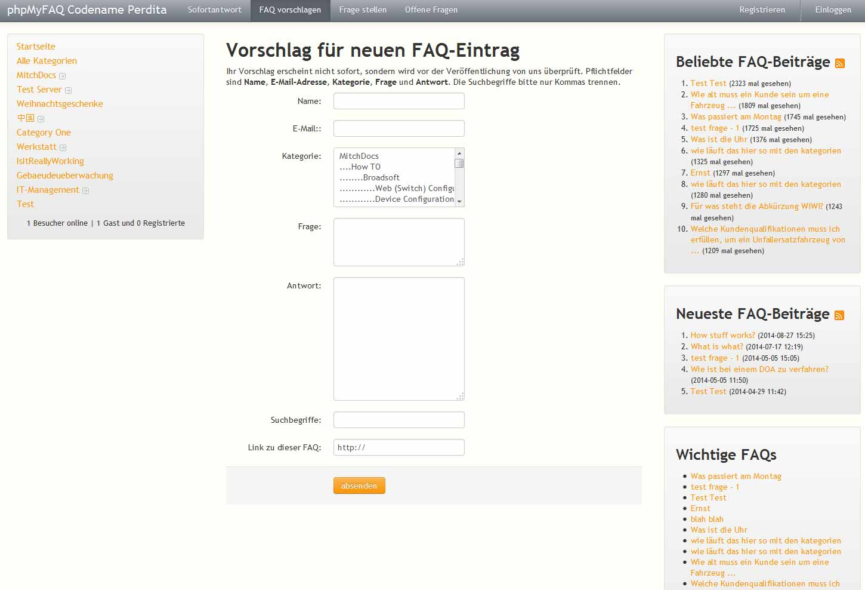 phpMyFAQ: Formular für FAQ-Eintrag-Vorschlag