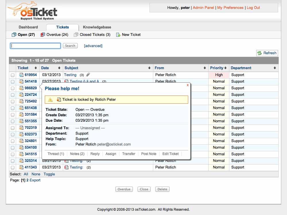 osTicket: Ticket-Übersicht