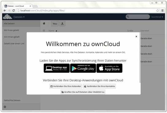 ownCloud: Downloadlinks zu den Apps