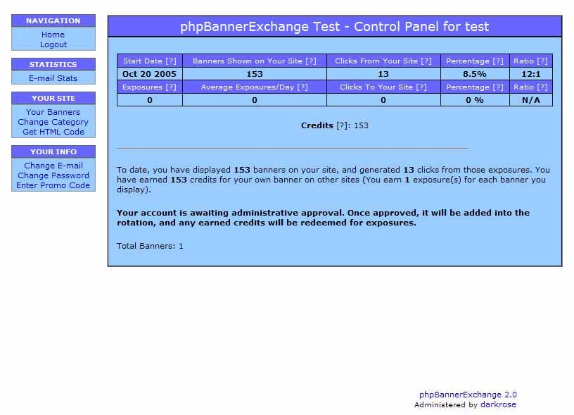 phpBannerExchange: Control-Panel