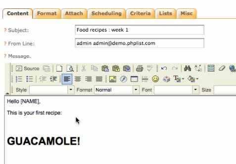 PHPList: Eingabeformular für Newsletter-Text