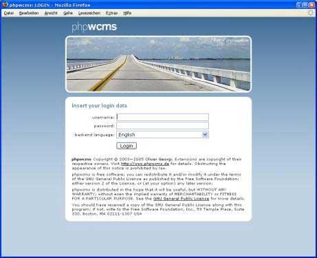 phpwcms: Anmeldeseite