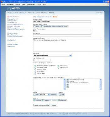 phpwcms: Eingabeformular für Artikel