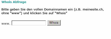 phpWhois: Abfrageseite