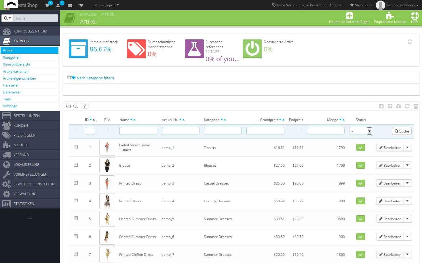 PrestaShop: Artikelkatalog-Verwaltung