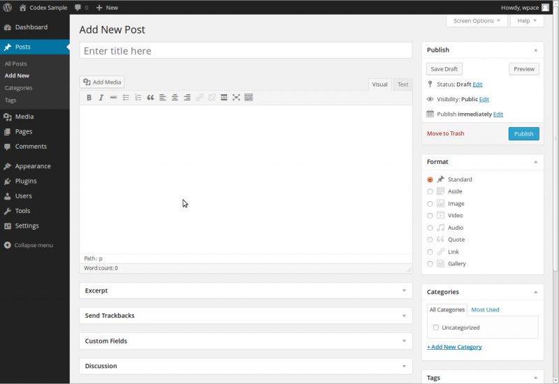 WordPress: Eingabeformular für Artikel