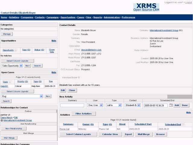 XRMS: Kontaktdetails