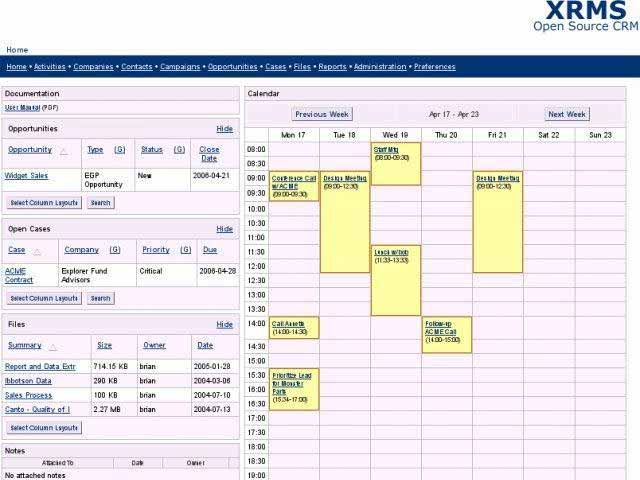 XRMS: Kalender