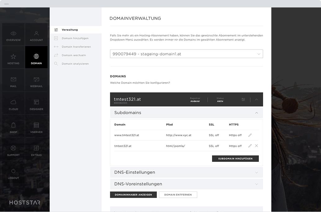Domain-Manager zur Verwaltung von Domains in der Desktop-Ansicht.