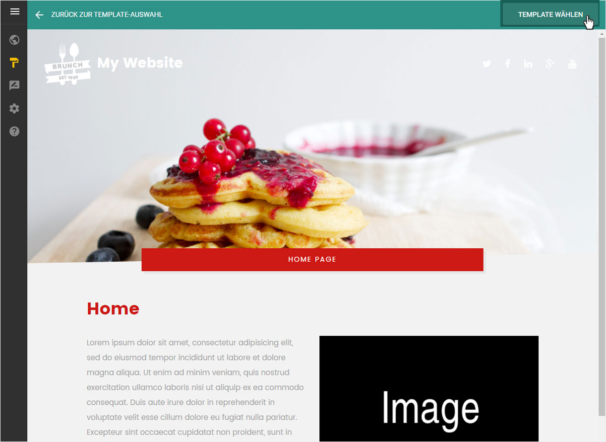 Support: Designvorlage im Designer wählen | Hoststar