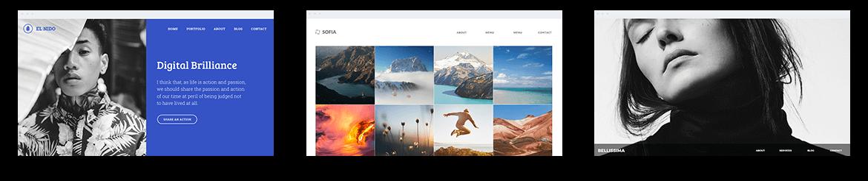 Drei Webseiten, welche mit dem Designer Homepage-Baukasten erstellt wurden.