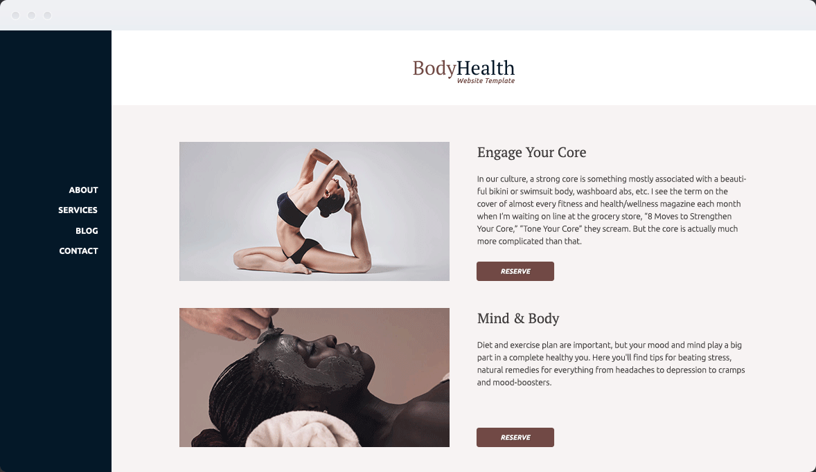 Screenshot Desktop Design Body Health 2