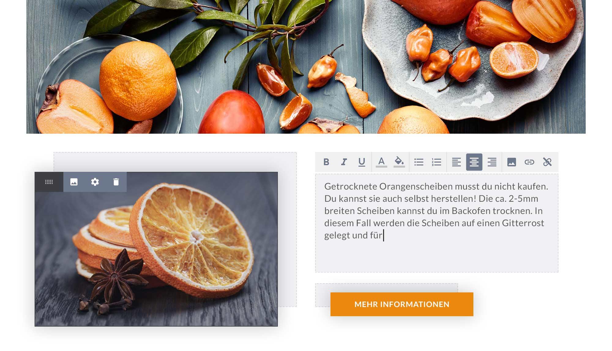 Bearbeitung von Bildern, Texten und Buttons im Designer Homepage-Baukasten.
