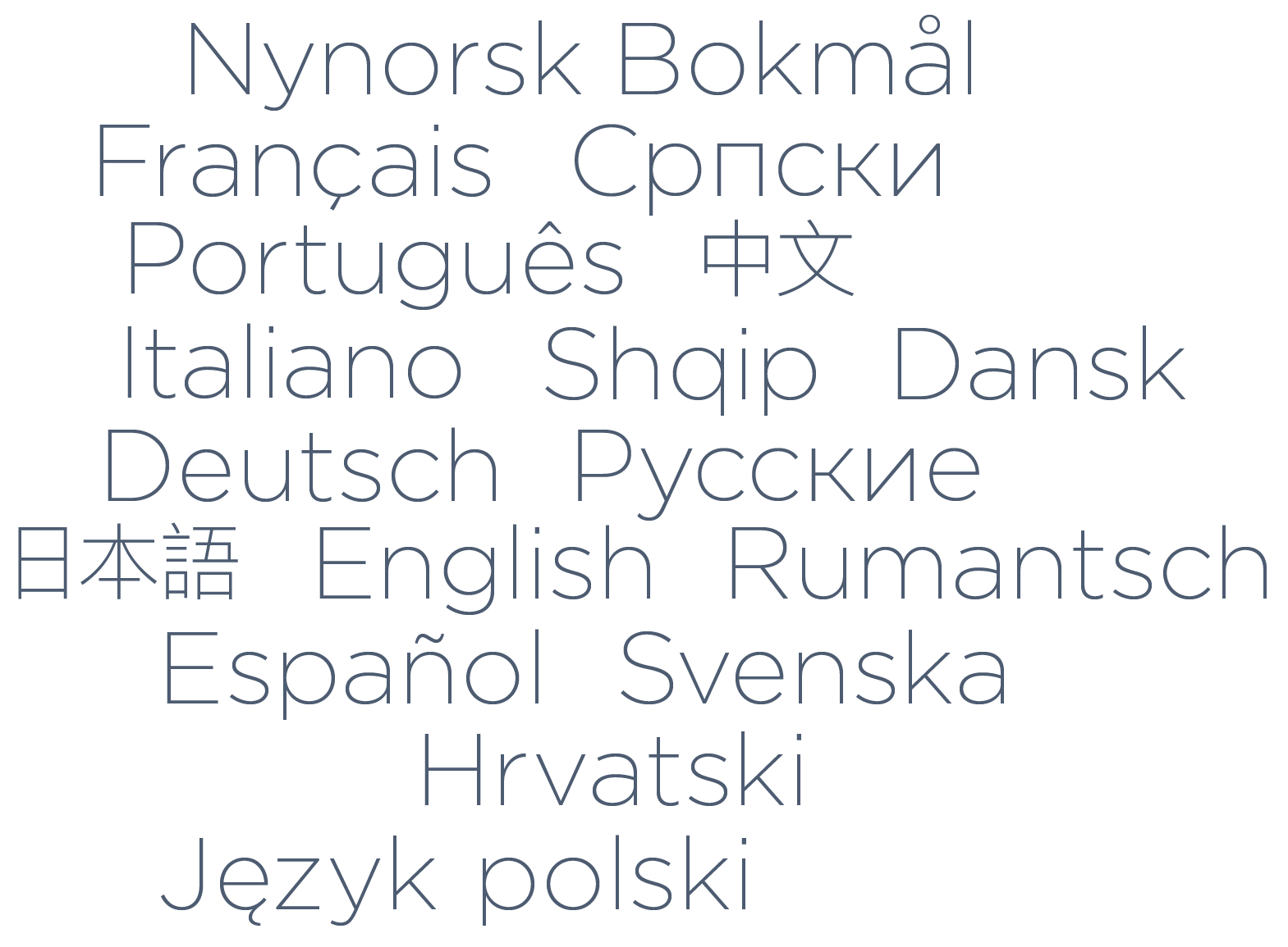 Languages that can be used in the Designer website builder to create a multilingual website: German, English, French, Italian and many more.