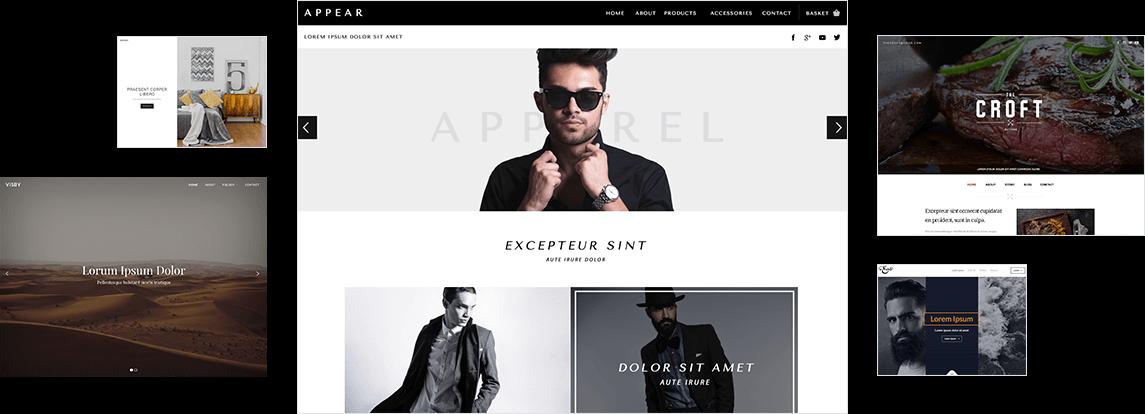 Verschiedene Vorlagen und Designs zur Erstellung einer Webseite mit dem Designer Homepage-Baukasten.