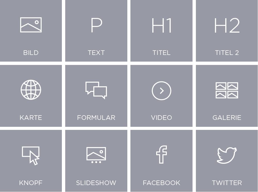 Icons von Widgets zur Erstellung einer Webseite mit dem Designer Homepage-Baukasten: Bild, Text, Titel, Titel 2, Karte, Formular, Video, Galerie, Button, Slideshow, Facebook, Twitter.