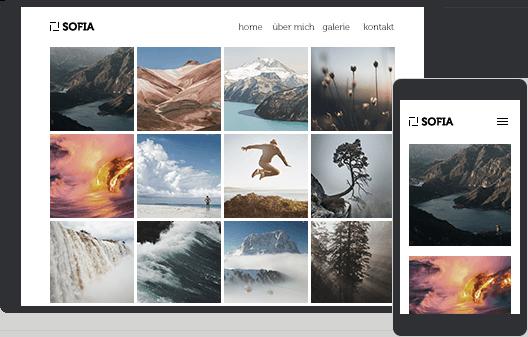 Webseite auf dem Tablet und Smartphone, welche mit dem Designer Homepage-Baukasten erstellt wurde.