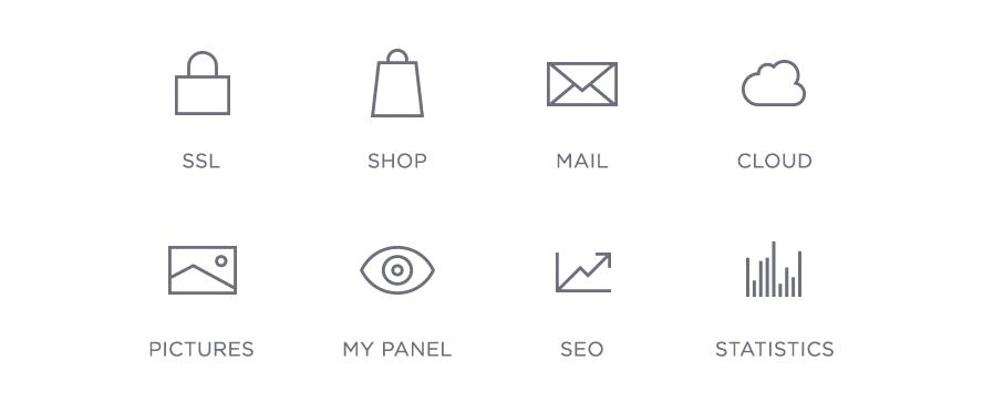 Icons zusätzlicher Leistungen mit einem Designer Homepage-Baukasten-Paket: SSL, Shop, Mail, Cloud, Pictures, My Panel, SEO, Statistics.
