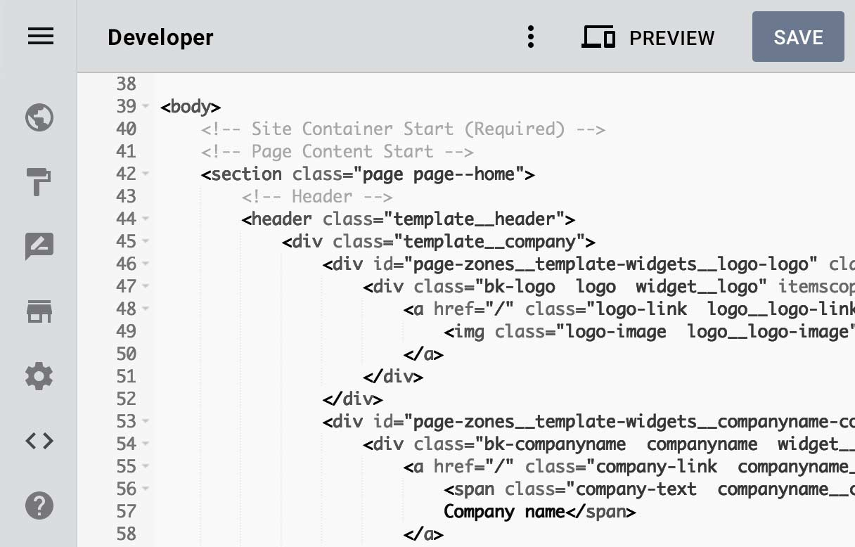 Developer mode in the Designer website builder, HTML lines can be seen on it.